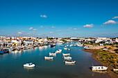 View towards Tavira und Rio Gilao, Tavira, Algarve, Portugal