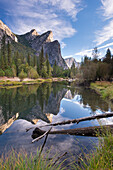 The Three Brothers mountains reflected in the tranquil waters of the River Merced, Yosemite National Park, UNESCO World Heritage Site, California, United States of America, North America