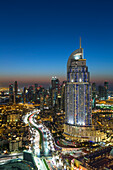 Dubai Mall, elevated dusk view over the Address and city skyline, Dubai, United Arab Emirates, Middle East