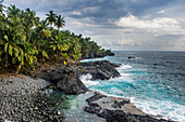 Rocky beach of Praia Piscina on the south coast of Sao Tome, Sao Tome and Principe, Atlantic Ocean, Africa