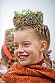 Traditional Girl,  Leonardi procession, Bad Toelz, Upper bavaria, Bavaria, Germany