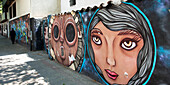 Faces painted on a wall lining a walkway, Santiago, Santiago Metropolitan Region, Chile