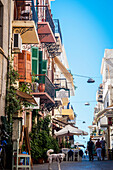 Colourful residential buildings along a street in old town, Chania, Crete, Greece
