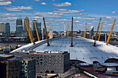 Elevated view of the O2 arena and Canary Wharf, London, England