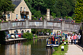 Canal boats, Hebden Bridge, Yorkshire, England