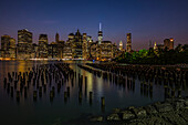 Manhattan skyline at twilight, Brooklyn Bridge Park, Brooklyn, New York City, New York, United States of America