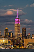 Empire State Building at sunset, colour honouring the Cupus Foundation of America, New York City, New York, United States of America