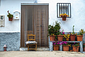 Doorway to a home with decorative flowers outside in the village of Juviles, La Alpujarra, Juviles, Andalusia, Spain, Europe
