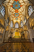 Interior of Tewkesbury Abbey, Tewkesbury, Gloucestershire, England