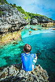 Looking out over a popular swimming hole, Niue Island