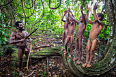 Young boys are instructed on the Land diving ritual, Pentecost Island, Vanuatu