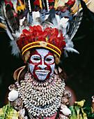 Eastern Highlander in traditional bilas, Eastern Highlands, Papua New Guinea