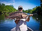 Black Barramundi (Lates calcarifer) fishing in the rivers of West New Britain, Papua New Guinea