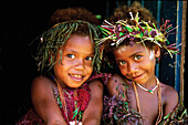 Two island girls posing, Trobriand Islands, Papua New Guinea