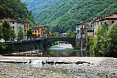 The quaint village of Bagni di Lucca in the Alpuan Alps, Bagni di Lucca, Tuscany, Italy