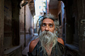 Portrait of man in an alleyway, Jodhpur, Rajasthan, India