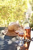 Rose wine on a table Provence France