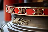 Lettering on urn in a temple Maokong tea growing area Taiwan