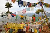 Buddhist Prayer Flags Above, Thimphu, Bhutan