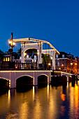 Skinny Bridge at dusk, Amsterdam, Holland