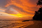 Sunset on beach, near Unawatuna, Thalpe, Sri Lanka