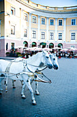 Tourists ride in horse drawn carriage past historic buildings in Odessa City centre, Odessa, Ukraine