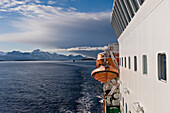 Arctic Circle as seen from onboard the Hurtigrunta cruise ship MS Nordlys in wintertime, Norway