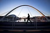 The Millennium Bridge, a footbridge linking Newcastle and Gateshead, Newcastle, England