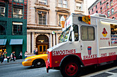 Ice Cream Van And Yellow Taxi In Tribeca, Manhattan, New York, Usa