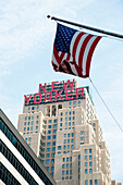 Hotel New Yorker And American Flag, Garment District, Manhattan, New York, Usa