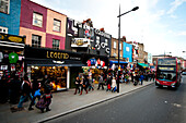 Shops In Camden High Street As Part Of The Famous Camden Market, North London, London, Uk