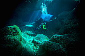 Diving into one of the underwater caves that surround Niue, Niue Island