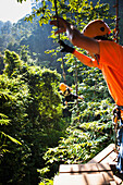 'Zip lines take you on an unparralled journey through the forest on the Flight of the Gibbons; Chiang Mai, Thailand'