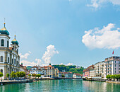'Church and residential buildings along River Reuss; Lucerne, Switzerland'
