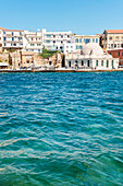 'Old mosque in Venetian harbour; Chania, Crete, Greece'