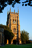 'Evesham Abbey bell tower in the evening light; Evesham, Worcestershire, England'
