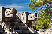 'Two large Ancient Mayan stone carved Jaguar heads above stone steps to a platform with blue sky; Chichen Itza, Yucatan, Mexico'