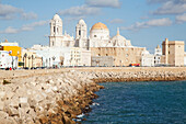 'Cathedral and rugged waterfront; Cadiz, Andalusia, Spain'
