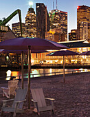 'Sugar Beach park with Financial District in background; Toronto, Ontario, Canada'