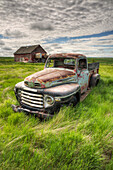 'HDR image of an abandoned truck in a rural area; Saskatchewan, Canada'