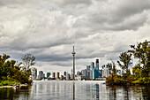 'Overcast skyline taken from the Toronto Islands; Toronto, Ontario, Canada'