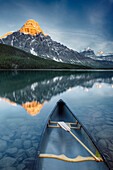 Canoe At Lower Waterfowl Lake With Mount Chephren In The Background, Banff National Park, Alberta