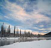 Bow River At Castle Junction In Winter, Banff National Park, Alberta