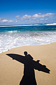 Surfers Shadow On Beach, Maui, Hawaii