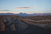 Full Moon Over The Valle De La Luna In The Cordillera De La Sal At Sunset, San Pedro De Atacama, Antofagasta Region, Chile