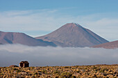 Cerro Michincha & Salar De Alconcha Salt Pan Covered By Fog, Antofagasta Region, Chile