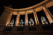 Statues Of Hungarian Kings On Heroes' Square At Night, Budapest, Hungary