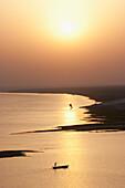 Sailboat On The Ganges River At Sunset, Patna, Bihar, India