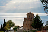 Church Of St. Jovan (St. John The Theologian) At Kaneo And Ohrid Lake At Sunset, Ohrid, Macedonia