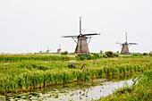 Windmills, Built Around 1740 Along Nieuwe Waterschap To Drain The Excess Water From The Alblasserwaard Polders, Kinderdijk, Netherlands